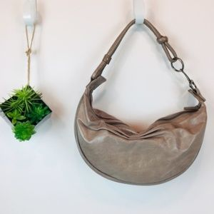 Fossil Crescent Taupe Beige Nude Hobo Leather Bag